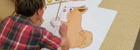 秋田犬と竿燈
